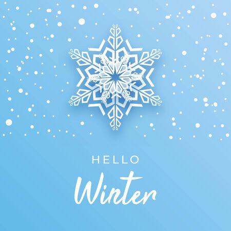 Hello Winter greeting card creative concept. Ilustração
