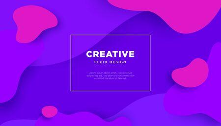 Fluid creative concept vector banner. Orange and yellow liquid elements.