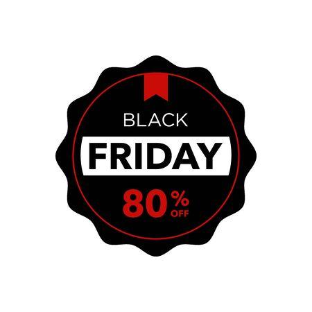Black Friday sale promotion 80% off label. Ilustração