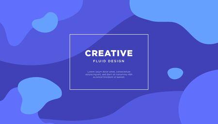 Motion creative concept vector banner. Blue fluid elements.