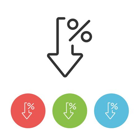 Percent down vector line icon for website isolated on white background. Crisis concept pictogram. Interest rate reduction.