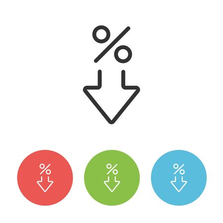 Interest rate reduction or percent down simple icon. Circle buttons in red, green and blue colors.