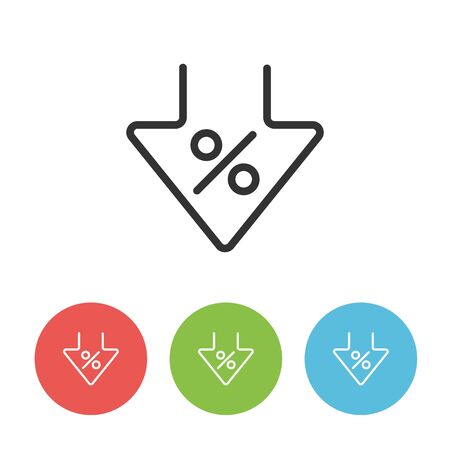 Interest rate reduction or percent down linear icon. Circle buttons in red, green and blue colors.