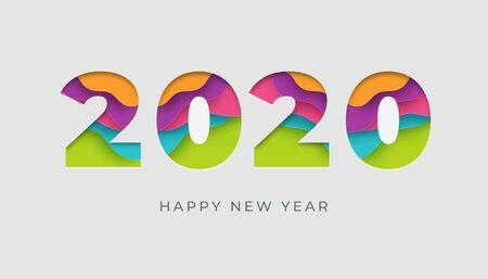2020 happy new year vector colorful card or banner in paper cut style. Ilustração