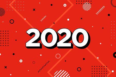 2020 New Year greeting card design. Template of wallpaper or web banner. Ilustração