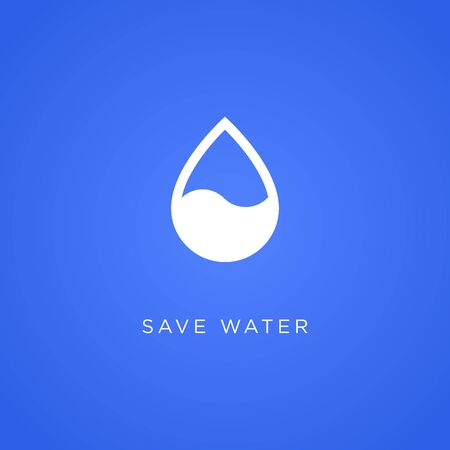 Save water banner concept. Drop flat icon.