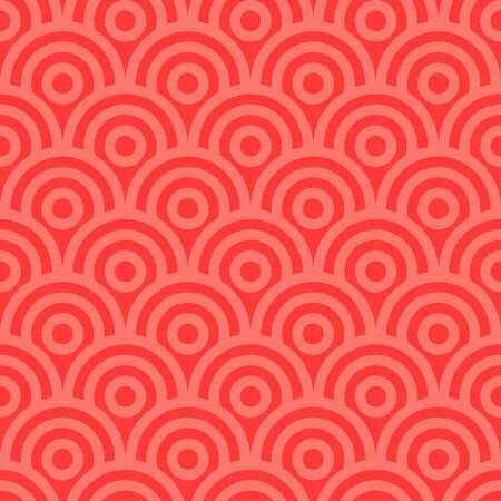 Red vector seamless pattern with rounded linear shapes.