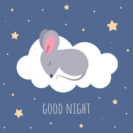 Cute sleeping mouse on cloud in flat cartoon style.