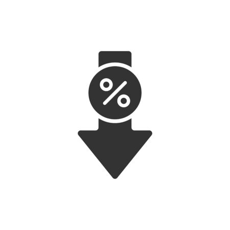 Percent down vector flat icon. icon element for web design. Çizim