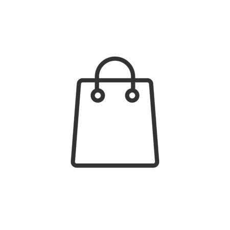 Shopping bag vector flat linear icon isolated on white background. Ilustração