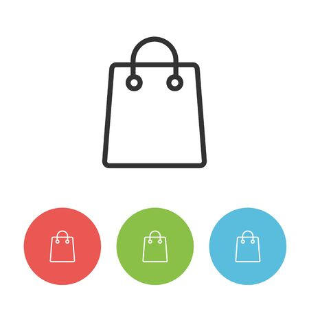 Female shopping bag vector flat outline icon. Craft pack for ladies. Circle buttons in green, red and blue colors