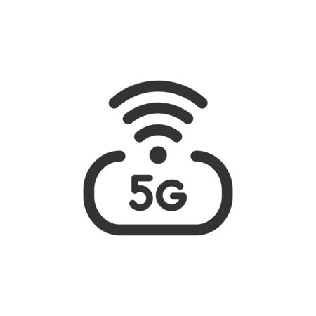 5 g high speed wireless internet vector icon isolated on white background. 5th generation network logotype or telecommunication standard concept