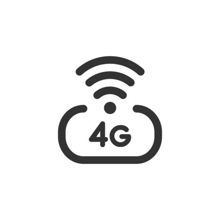 4 g high speed wireless internet vector icon isolated on white background. 4th generation network logotype or telecommunication standard concept