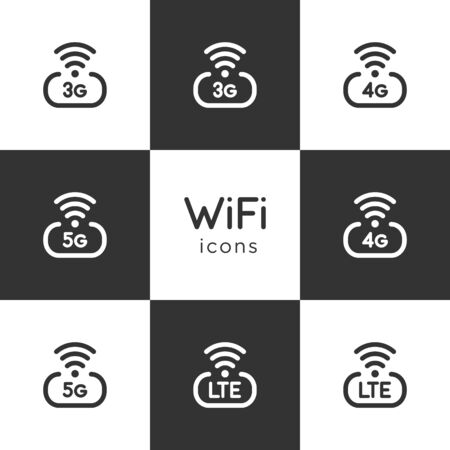 Set of wifi network internet vector icons isolated on dark and light background. 3g, 4g, 5g, lte symbols design. Illustration for website or graphic element