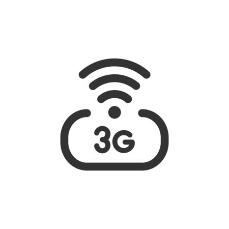 3 g wireless internet vector icon isolated on white background. 3rd generation network logotype or telecommunication standard concept