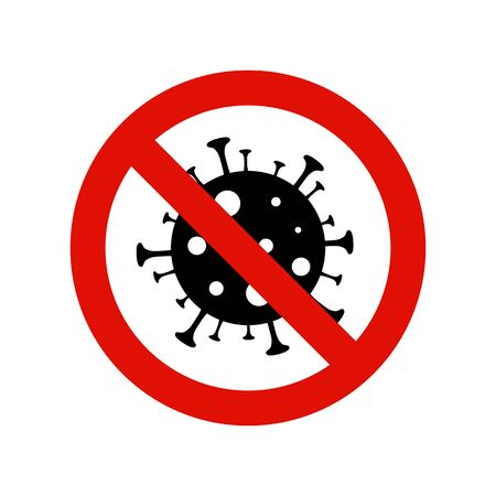 Coronavirus icon isolated on white with red prohibit sign. 2019-nCov bacteria. Stop infection vector concept