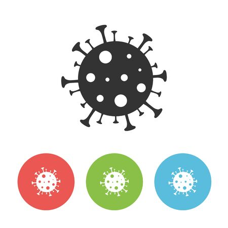 Coronavirus black vector icon. 2019-nCov bacteria