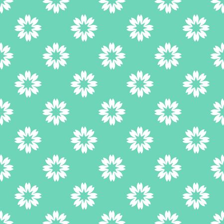 Spring vector seamless pattern with flowers on green background. Flat style. Eps 10