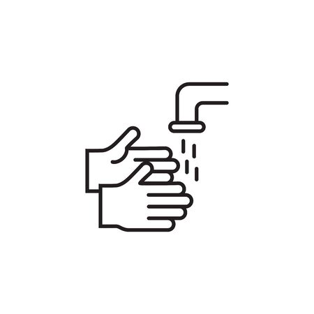 Hands washing flat vector icon isolated on white background