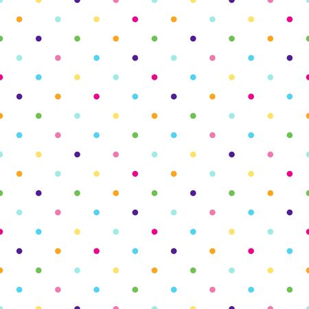 Colorful dotted seamless vector pattern isolated on white background.