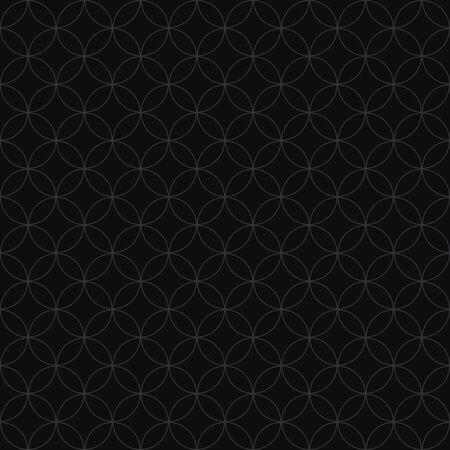 Thin line rings vector seamless pattern in black color.