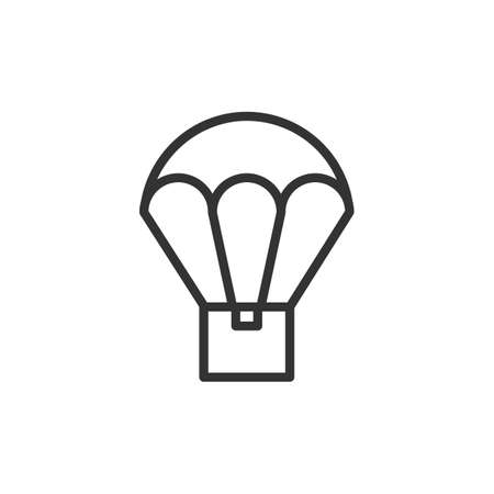 Parachute drop shipping vector thin line icon