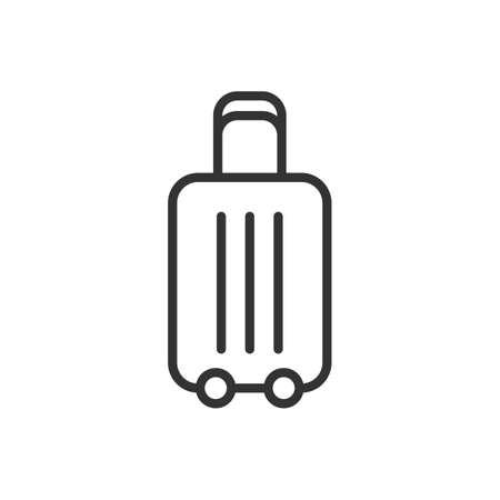 Luggage, travel baggage vector outline icon on white Ilustração