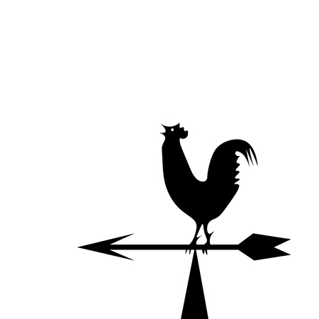 Weather vane in the form of a black rooster on the boom Stock Photo