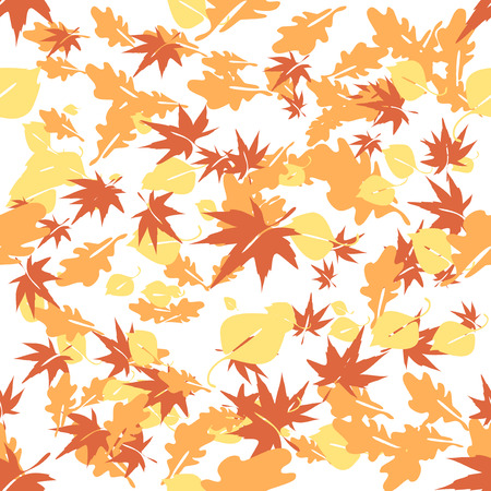 chokeberry: Autumn leaves flying in the wind over white background seamless Vector Illustration