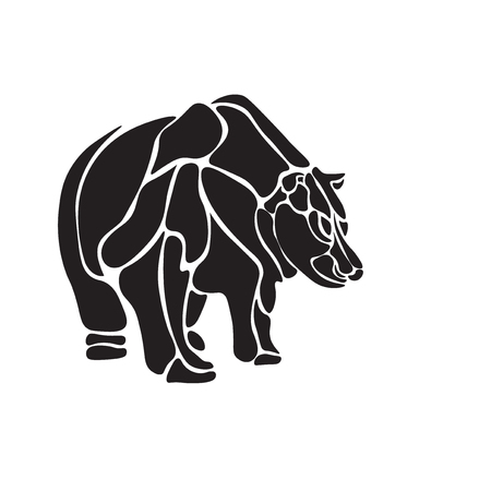agressive: Illustration black and white engrave isolated vector bear