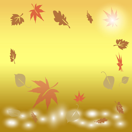 autumn leaves falling: autumn leaves falling into the water at sunrise Vector  Eps 10