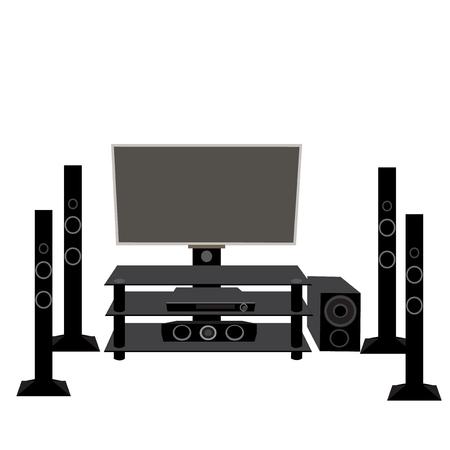 hifi: Set HI-FI consumer electronics: TV and audio equipment 5.1 vector illustration Illustration
