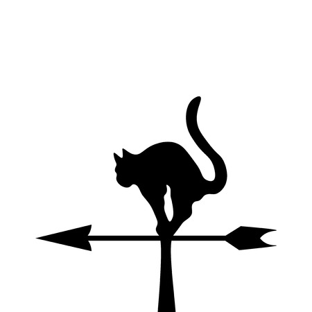 wind vane: The black silhouette of a cat in a wind vane Vector illustration.