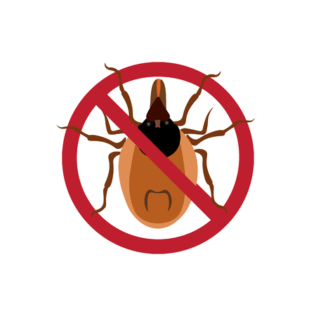 Symbol parasite warning sign. Mite spider. Mite red. Mite allergy. Epidemic. Mite parasites. Vector illustration Illustration