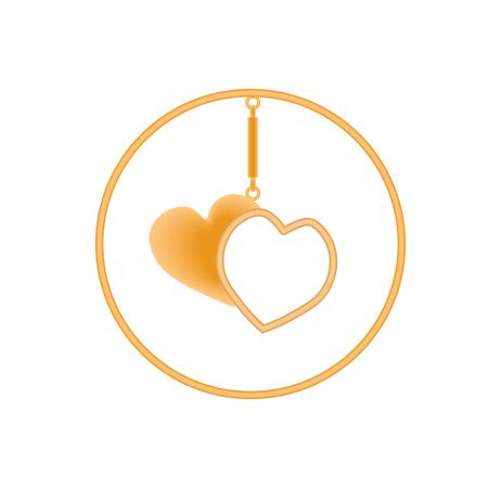 charm: Metal charm heart pendants for necklace or bracelet in a golden performance. Illustration