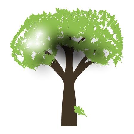 backlight: Green Oak Silhouette of a tree, Vector, backlight