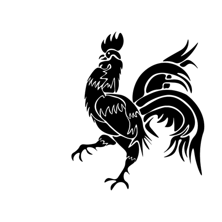 Vector image of an black rooster on white background Illustration