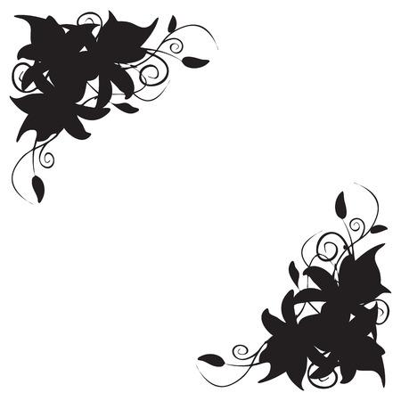 Illustratie decoratie in de vorm van lelie hoekornament Vector Illustratie