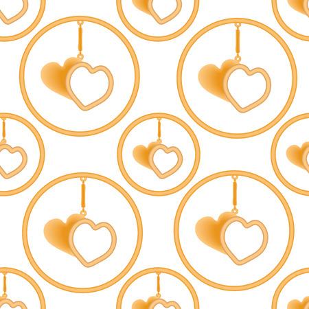 Pendentif en forme de deux coeurs d'or dans l'anneau sur la suspension, sharmik. Vector illustration.