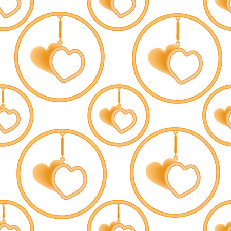 Pendant in the form of two golden hearts in the ring on the suspension, sharmik. Vector illustration.