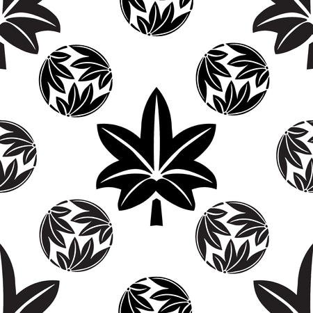 symbolism: The stylized seamless maple leaves, Japanese symbolism vector illustration. Illustration