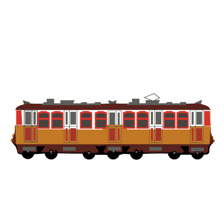 Yellow color train, wagon vector illystration isolated Illustration