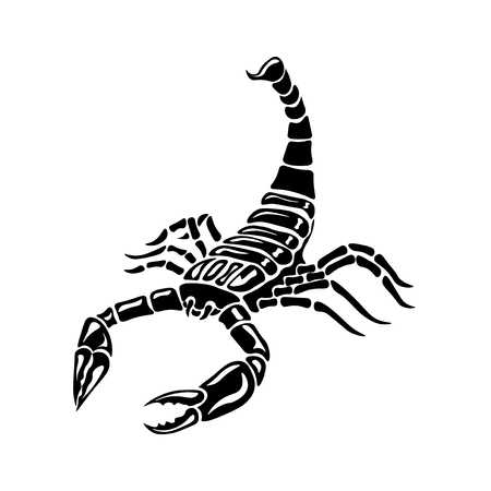cartoon scorpion: Black and white Scorpion for tattoos, zodiac sign, vector illustration