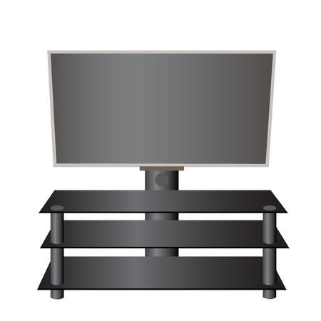 flatscreen: Flat-screen TV LCD, plasma on a special stand realistic vector illustration. Illustration