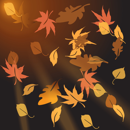 crumbling: Multi-colored autumn leaves, crumbling at sunset. Vector Illustration