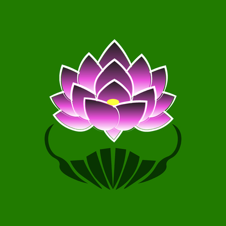 buddha lotus: Purple stylized image of a lotus flower on a green background. The symbol of commitment to the Buddha in Japan. Vector illustration.