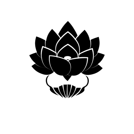buddha lotus: Black stylized image of a lotus flower on a white background. The symbol of commitment to the Buddha in Japan. Vector illustration.