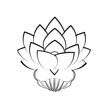 Black stylized image of a lotus flower on a white background, tattoo. The symbol of commitment to the Buddha in Japan. Vector illustration. Illustration