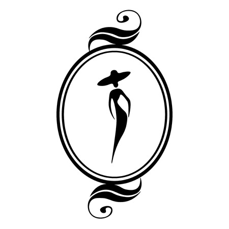Noir cadre ovale pour une photo avec une silhouette féminine dans un fond blanc. Vector illustration.