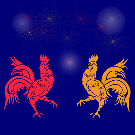 cocky: Two cocky rooster, red and yellow on a background of fireworks. Chinese Horoscope - Rooster. Chinese New Year. Vector illustration